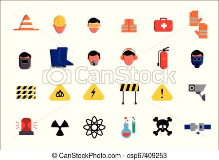 Set of icons of different aspects of workplace safety.