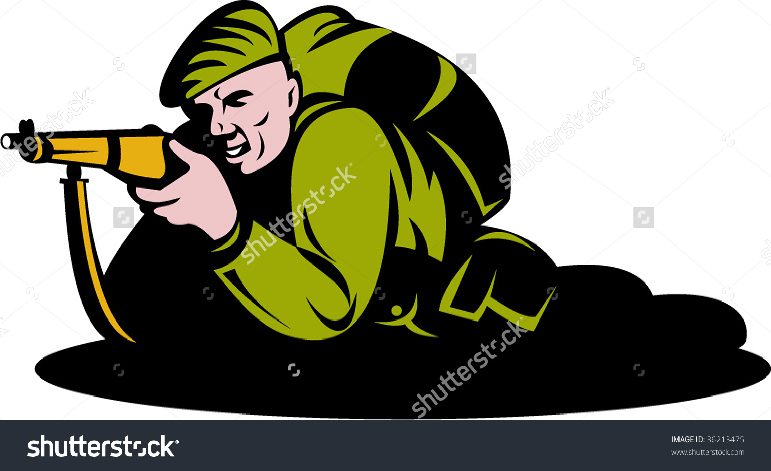 World War Two Commando Soldier Aiming Stock Vector 36213475.