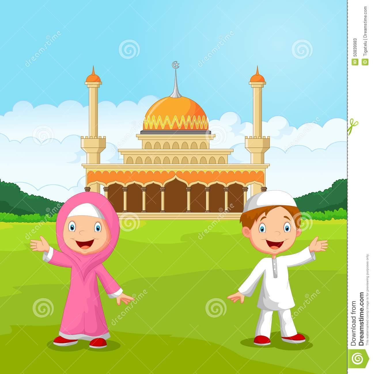 Happy Cartoon Muslim Kids Waving Hand In Front Of Mosque Stock in.