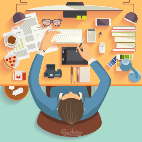 Workspace Illustration Free Vector.