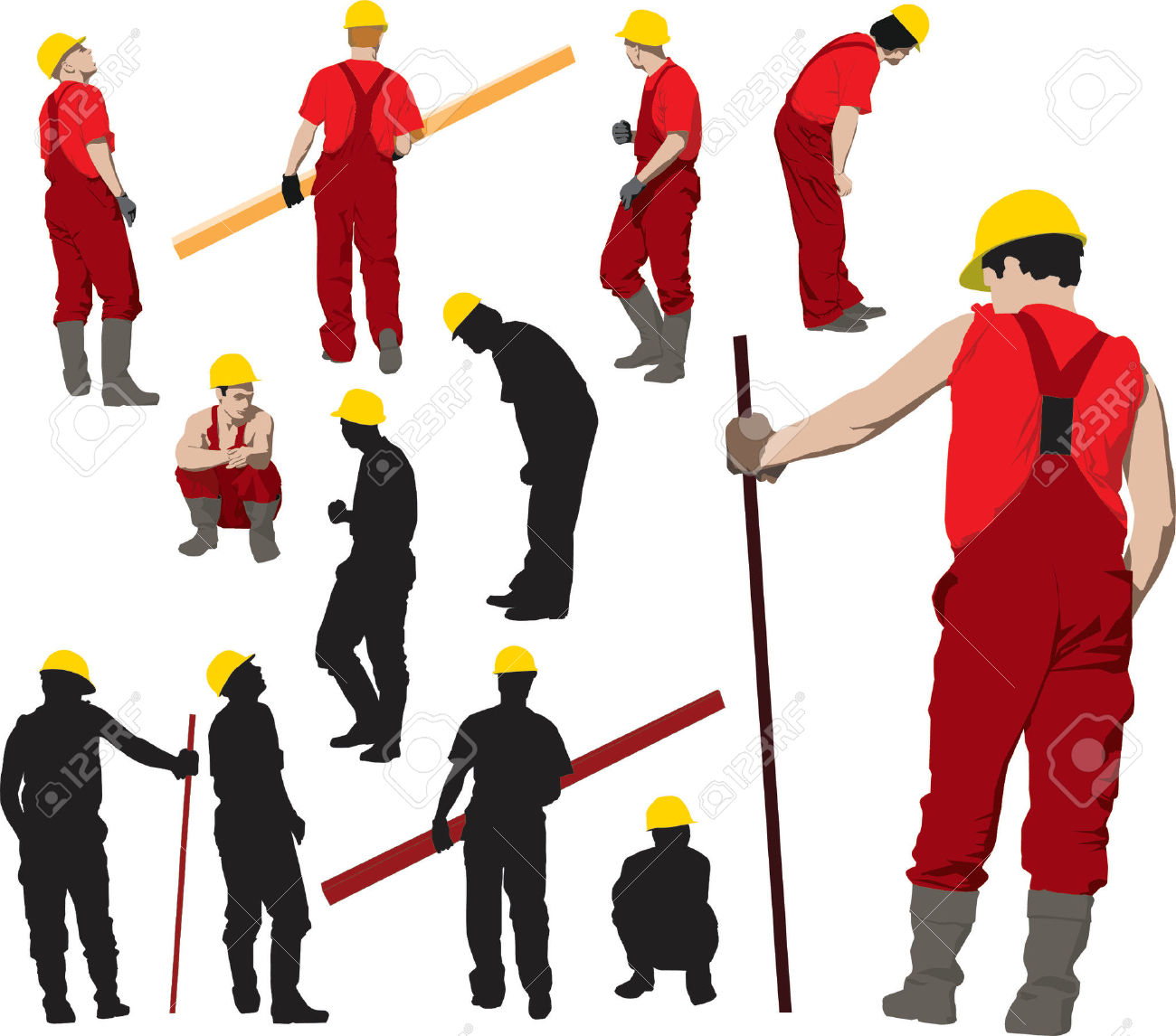 Team Of Construction Workers In Red Workwear An Yellow Helmets.