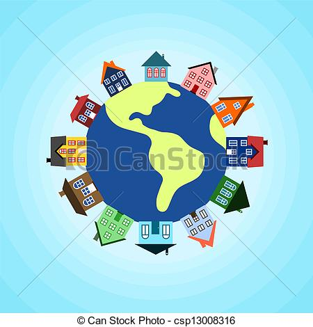 Vector Clip Art of Houses on earth.