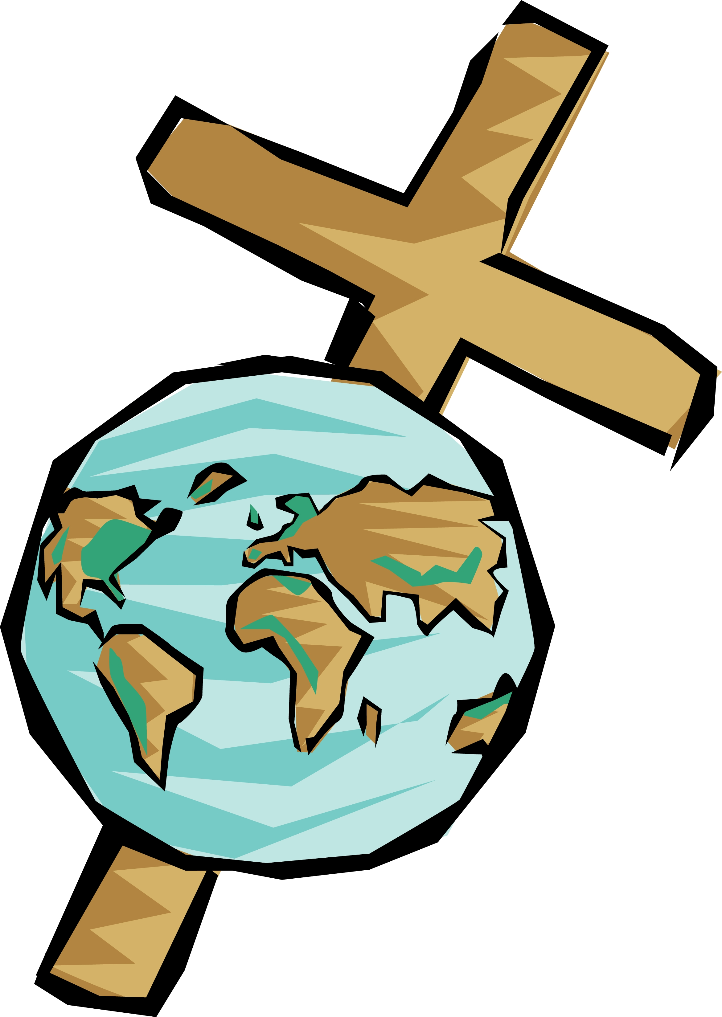 World with Cross Clipart.