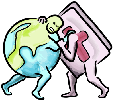 Image: Bible wrestling the world.