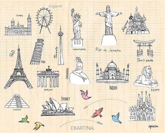Travel doodle ClipArt,famous places Clipart,Hand drawn.