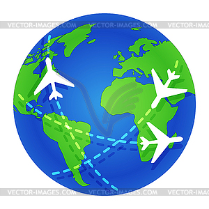 Planes fly around globe. Journey. Planet Earth..