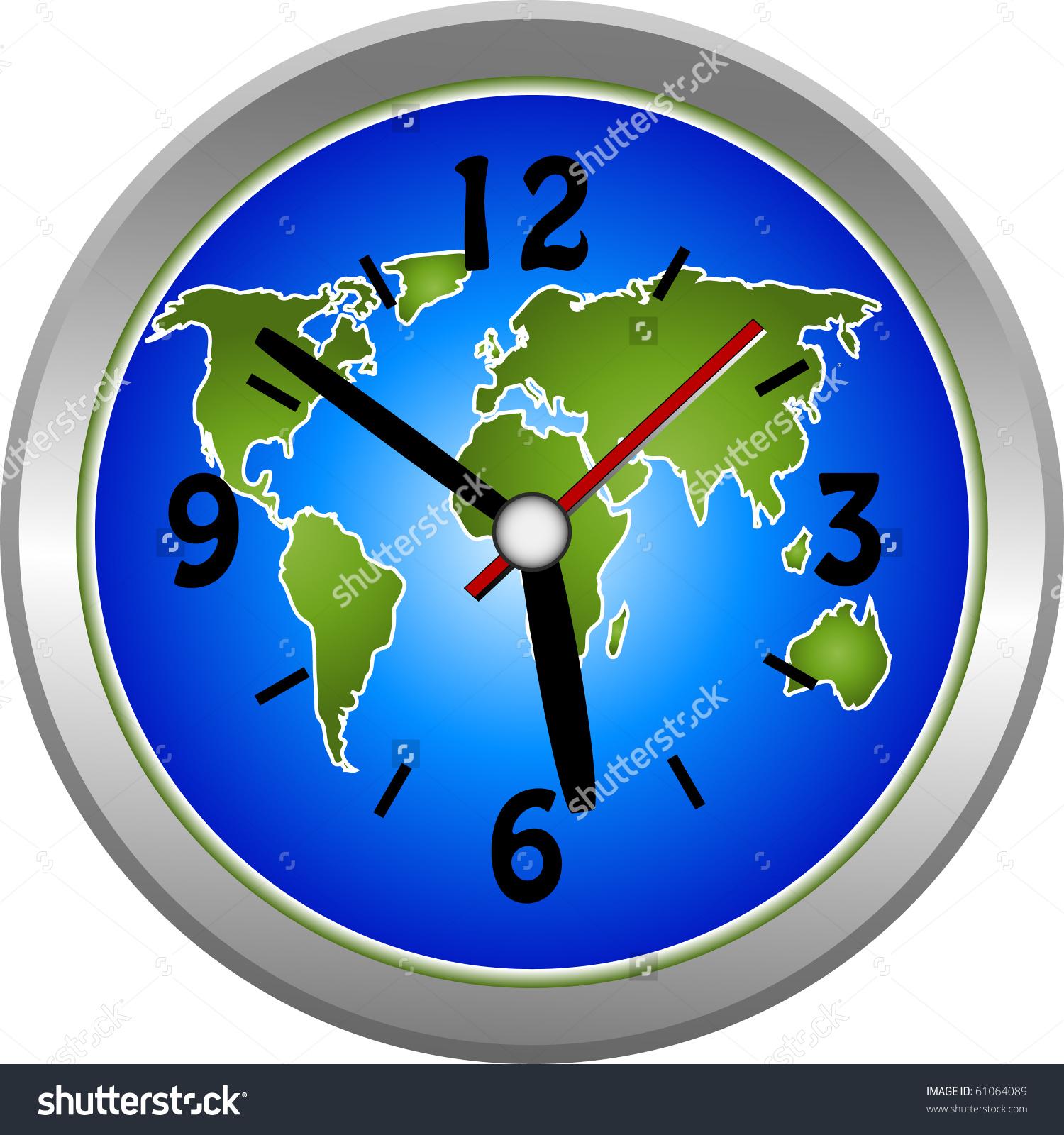 Globe World Clock Illustration Stock Illustration 61064089.