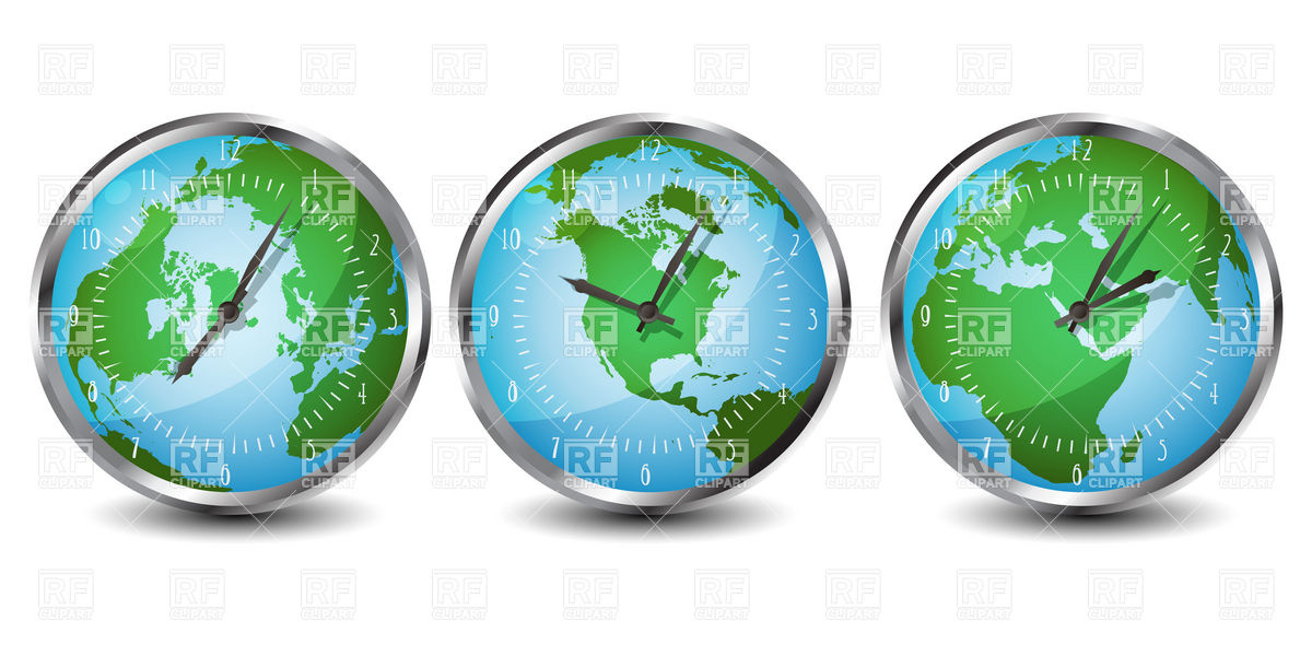 Office clock with world time Vector Image #6398.