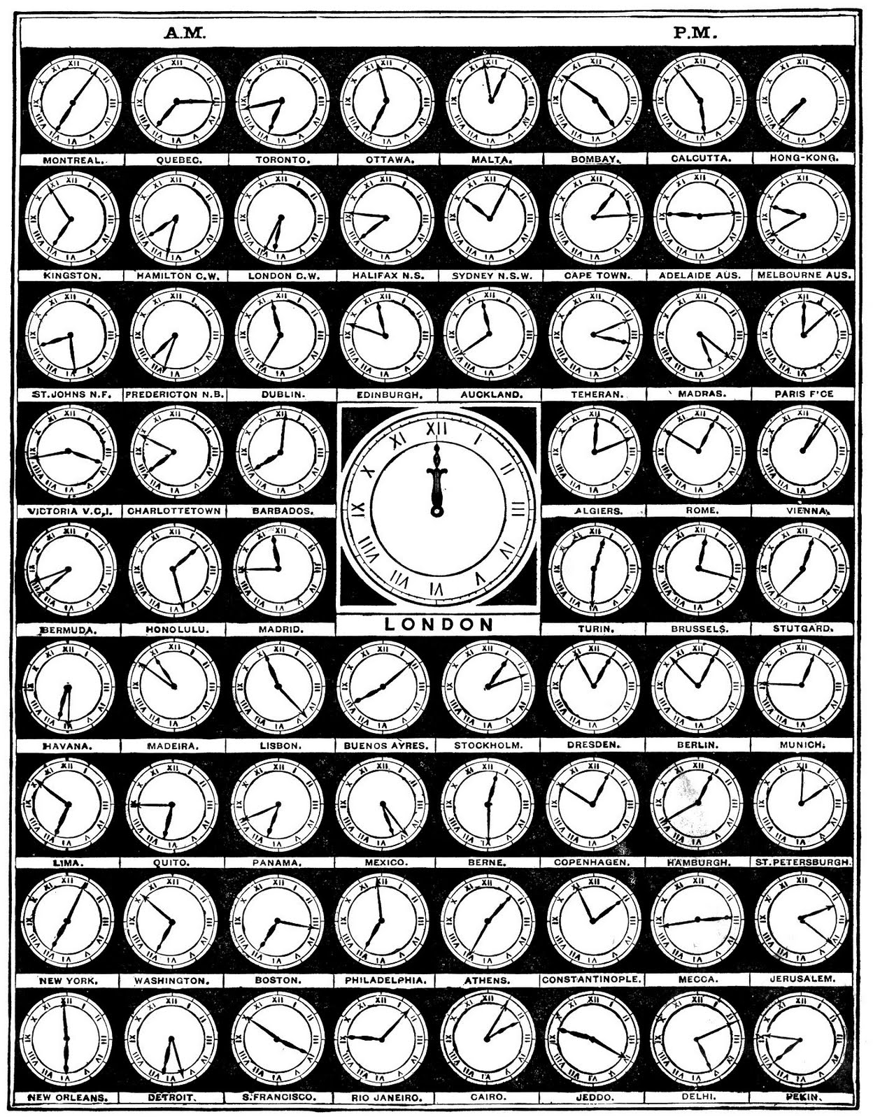 Clipart clock from around the world.