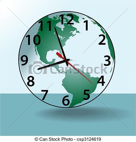 EPS Vectors of Earth world travel time clock globe.