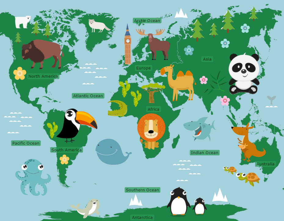 World: Continents and Oceans (Cartoon Version).