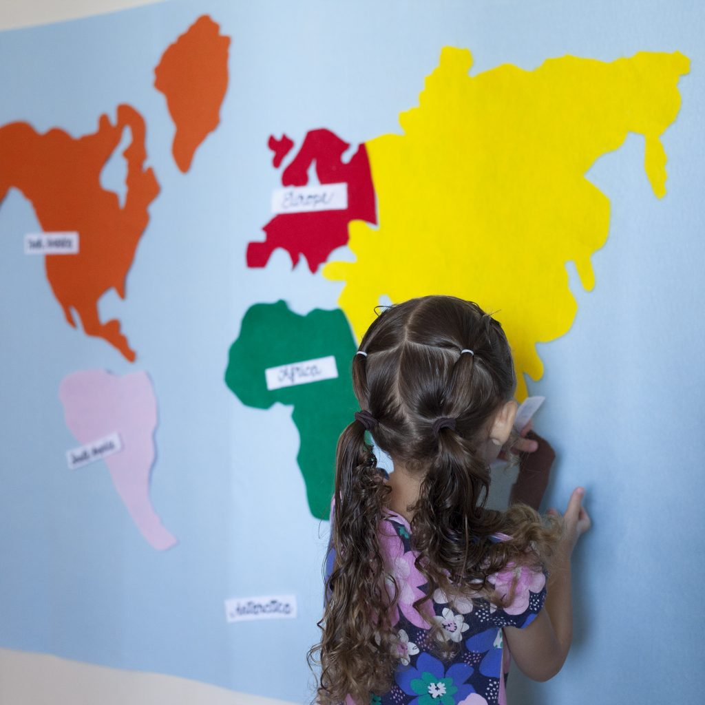 Kids Felt World Map, Montessori Continents with Labels.