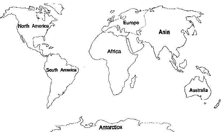 7 Continents Coloring Pages.