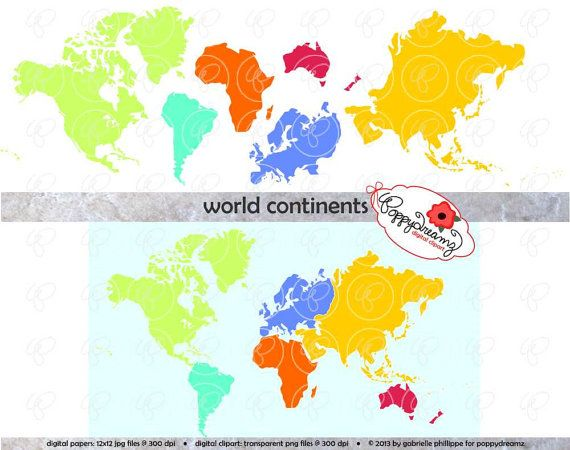 World Continents Digital Clip Art: North America by.