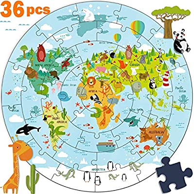 iPlay, iLearn Kids Wooden World Map Jigsaw Puzzles, Jumbo Round Floor  Puzzle w/Continents Oceans N Animals, Geography Learning Toy, Gift for 3,  4, 5,.