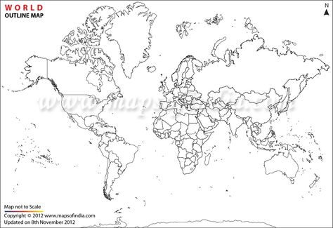 World Map Printable Continent Outlines.