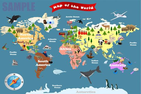 World Map For Kids.