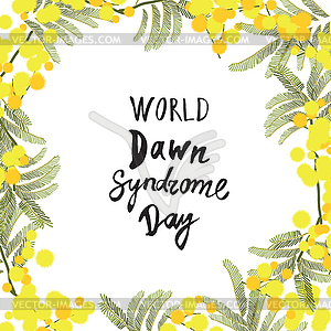 Greeting card of World Down Syndrome Day.