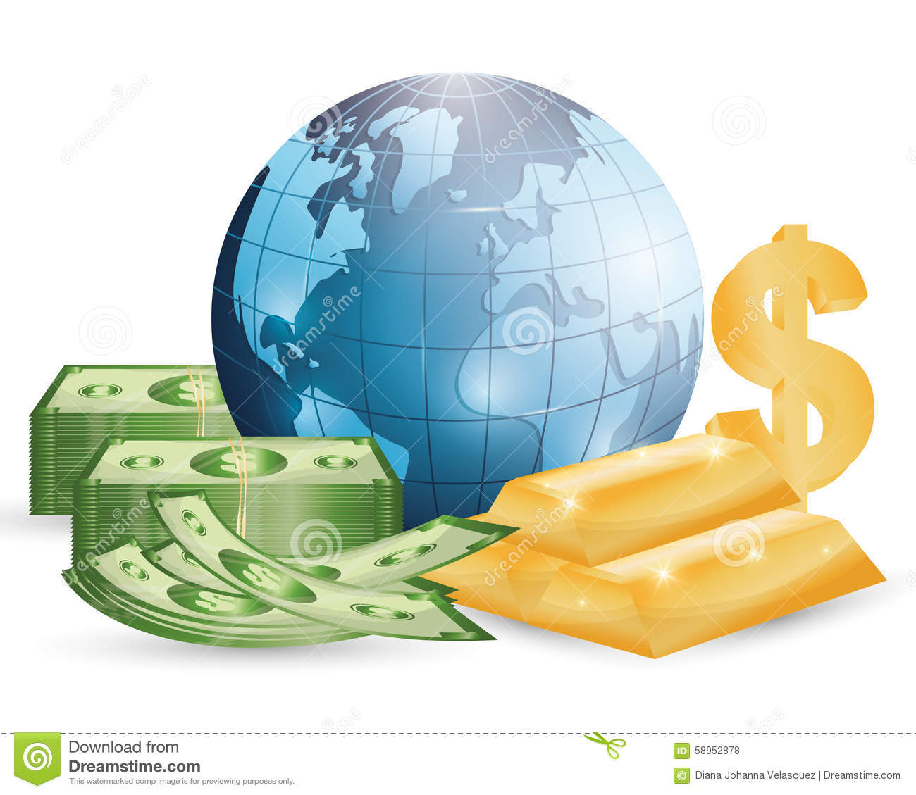Business, Money And Global Economy Stock Vector.