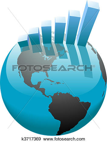 Clipart of Business people stand on global world k11967231.