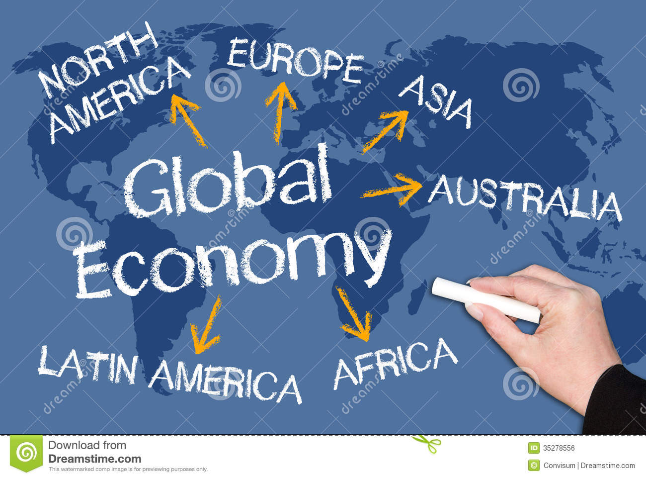 Global Economy Chalkboard Royalty Free Stock Image.