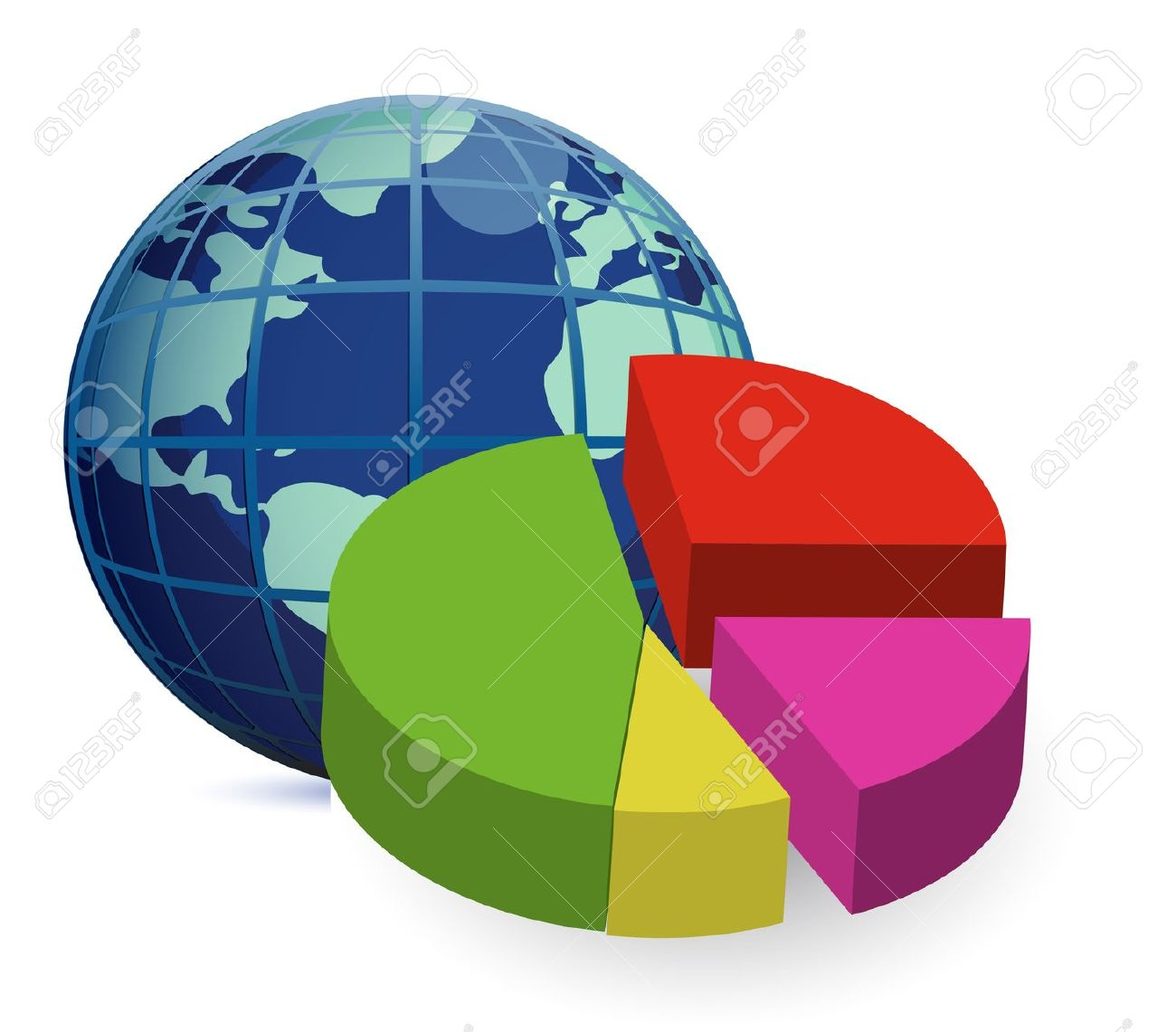 World Globe And A 3D Global Financial Economy Pie Chart Royalty.