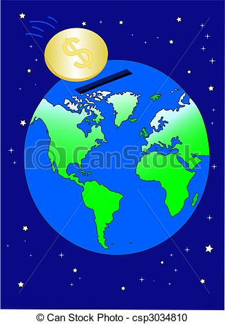 Vector Clipart of World economy in dollars.