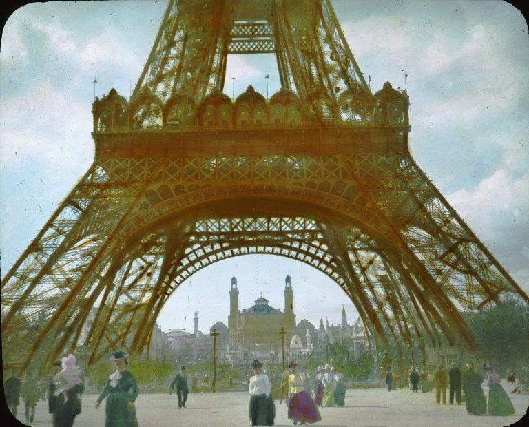 Vintage photograph Eiffel Tower Paris exposition 1900.