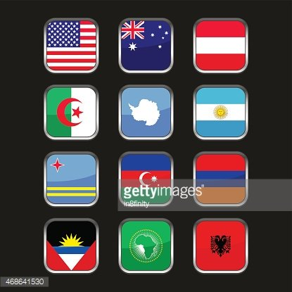 World Flags Icons Set. Name Country of Letter A. Vector.
