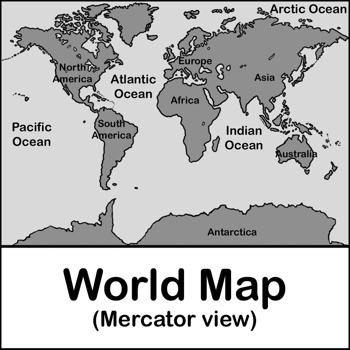 Clip Art: Africa Map B&W Blank.