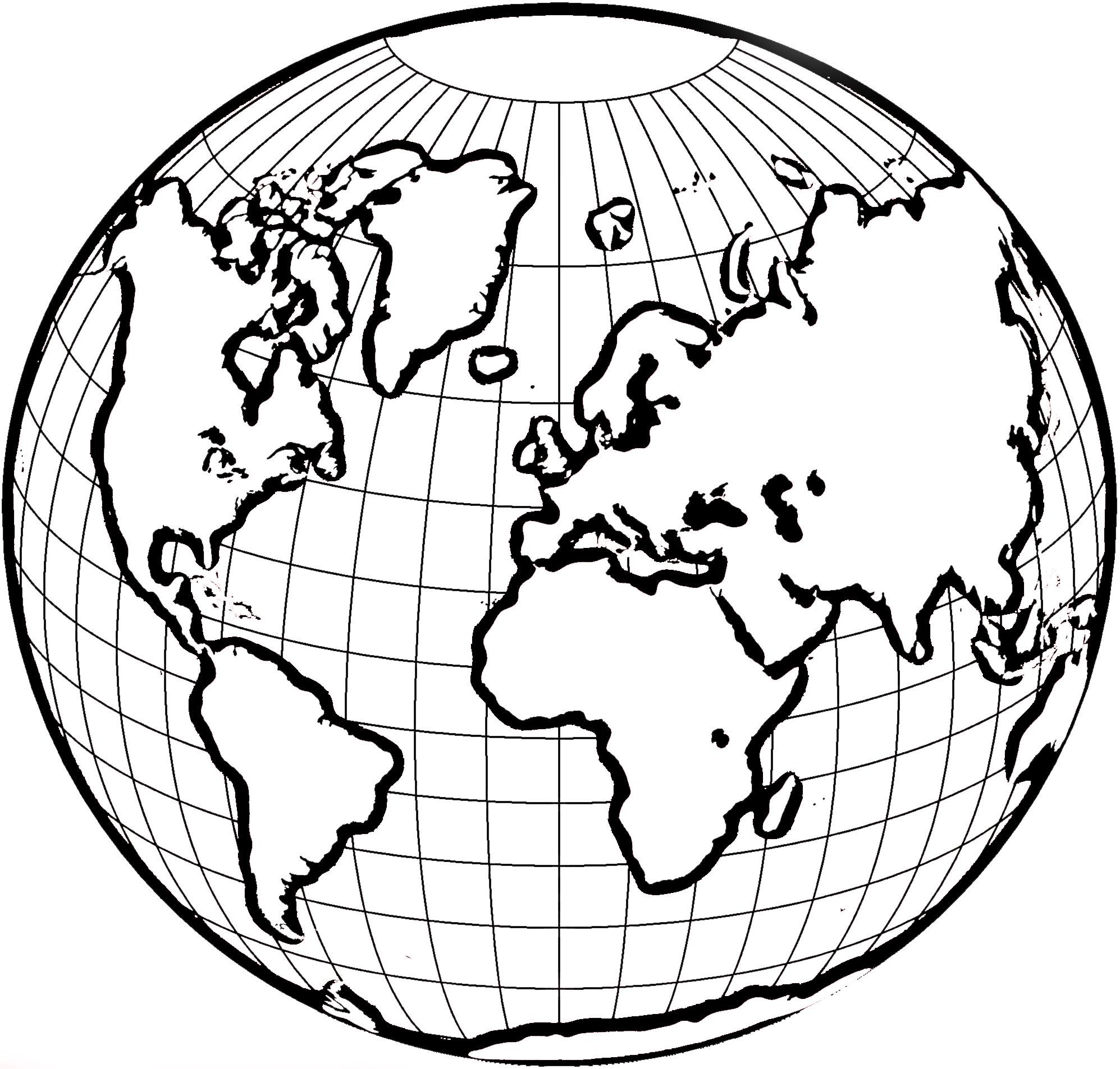 Globe Clipart Black And White For Kids.