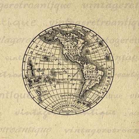 11x14 Digital Printable Antique Earth Globe Map Graphic.