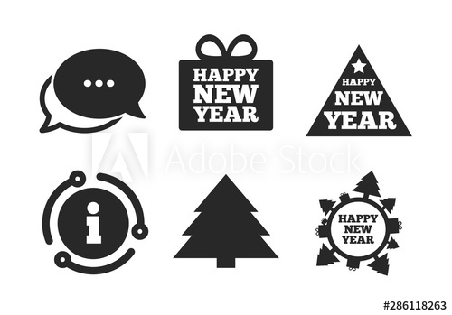 Christmas trees signs. Chat, info sign. Happy new year icon.