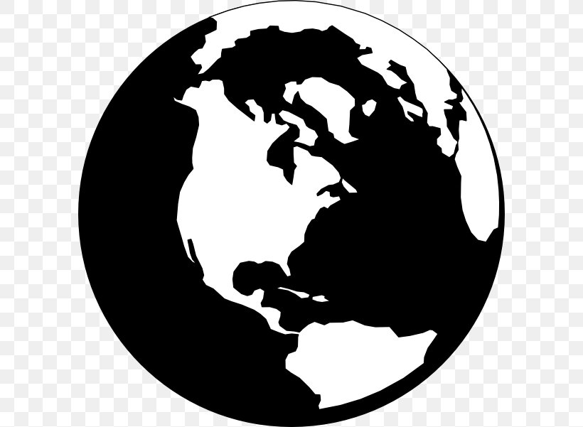 World Globe Black And White Clip Art, PNG, 600x601px, World.