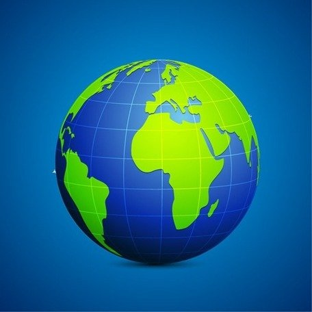Modern Globe Blue and Green Connection Clipart Picture.