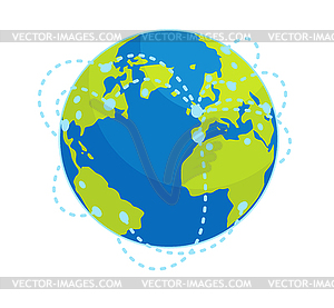 Earth Global Connections Flat Concept.