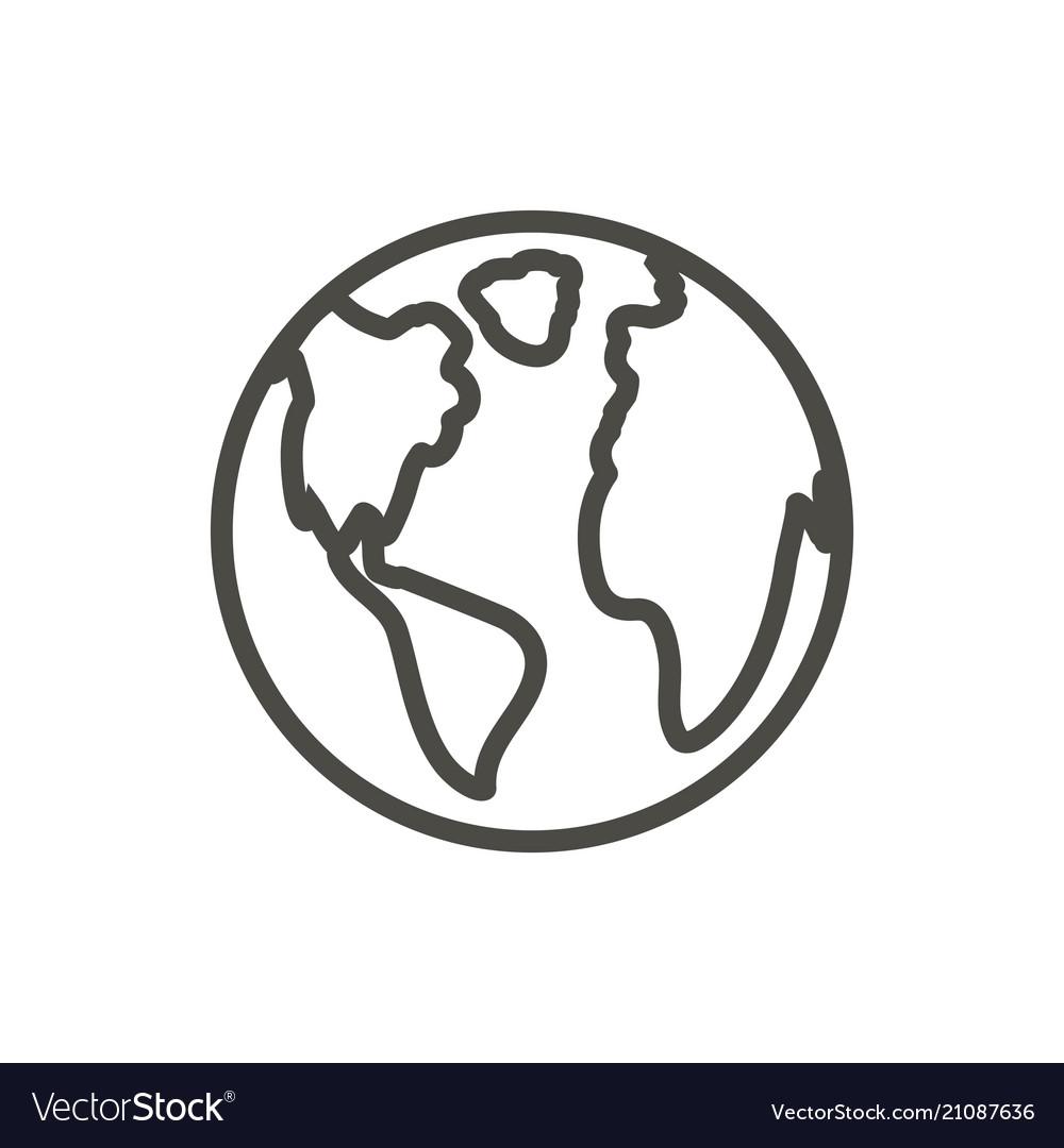 Earth icon outline world globe line plane.