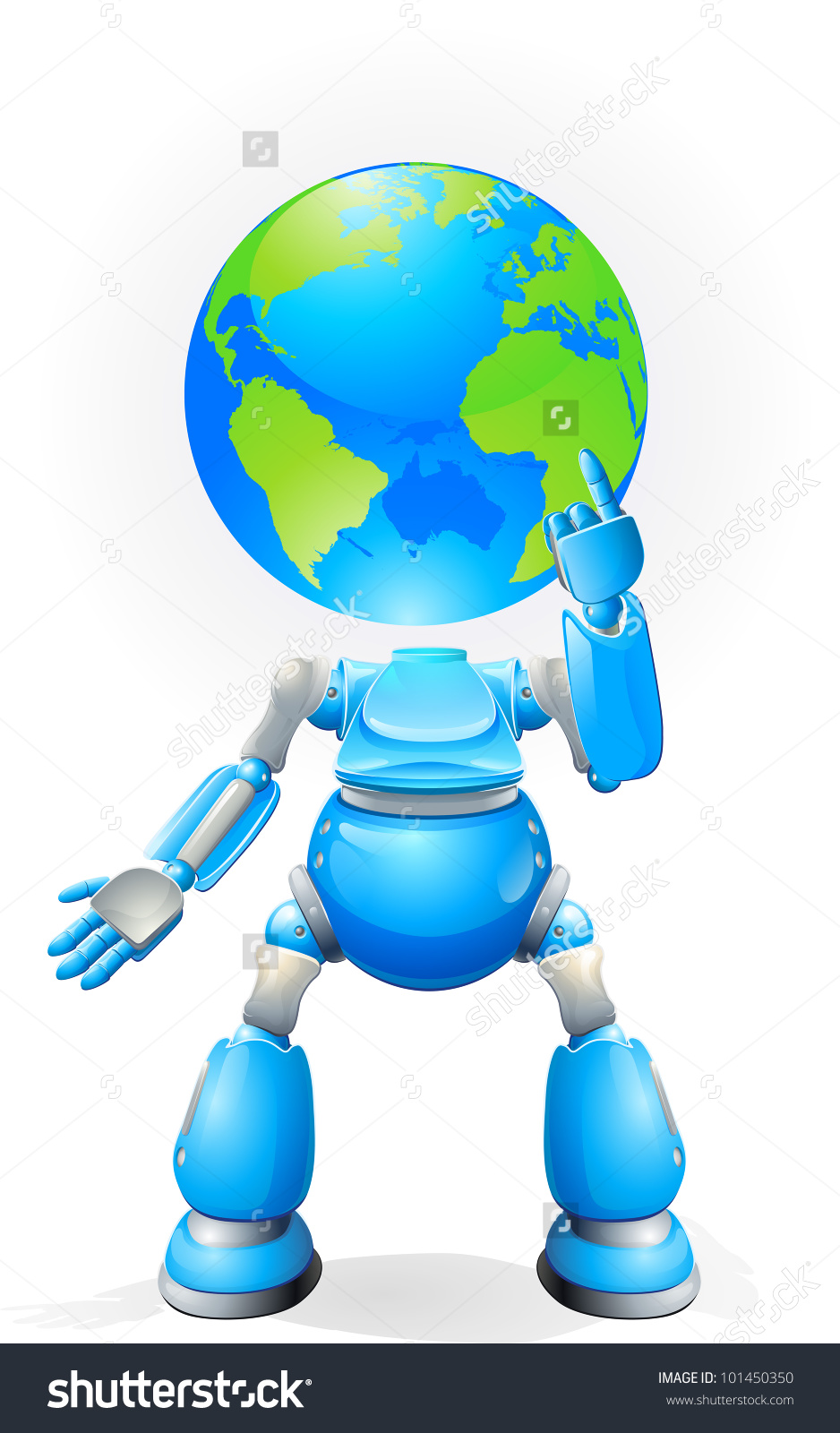 A World Blue Robot With A Globe For A Head. Conceptual.