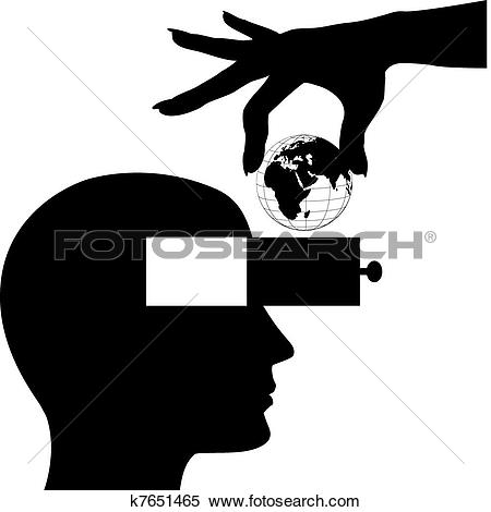 Clipart of Hand world into male head open mind drawer k7651465.