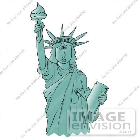 Clip Art Graphic of the Liberty Enlightening the World or Statue.