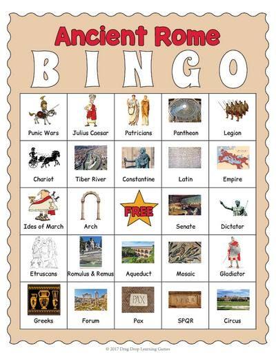 Ancient Rome Bingo Game.