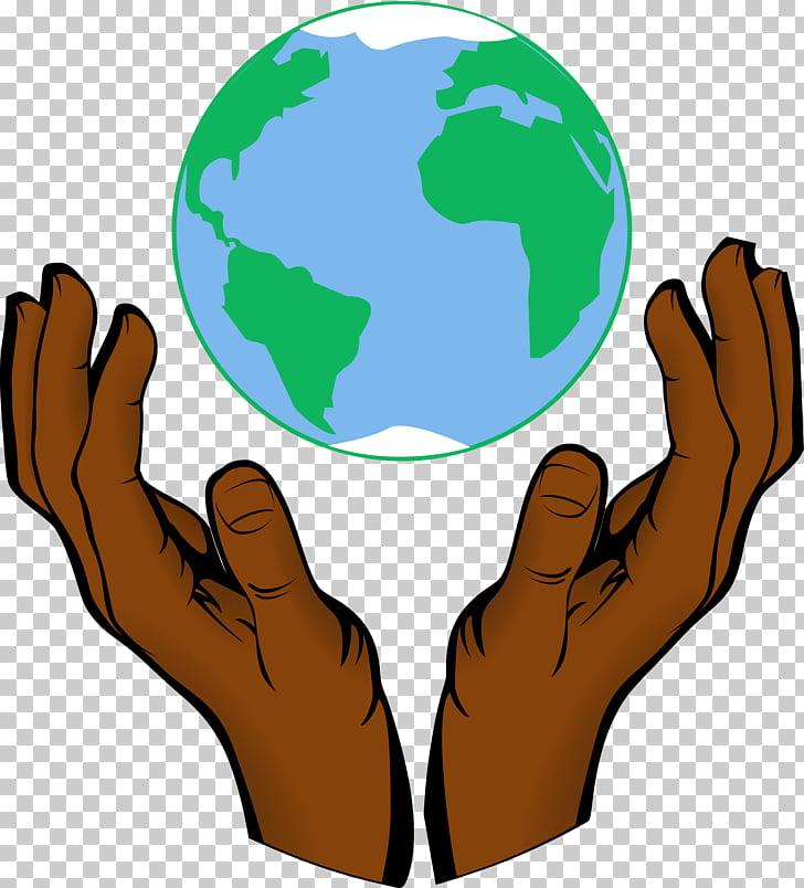Earth , open hands PNG clipart.
