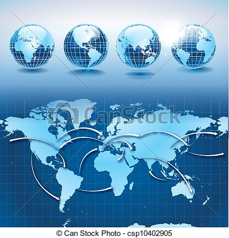 Vector Clipart of World transportation and logistics with earth.