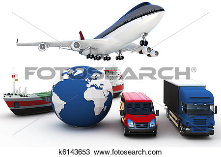 Drawing of 3d global cargo transport concept k6143653.