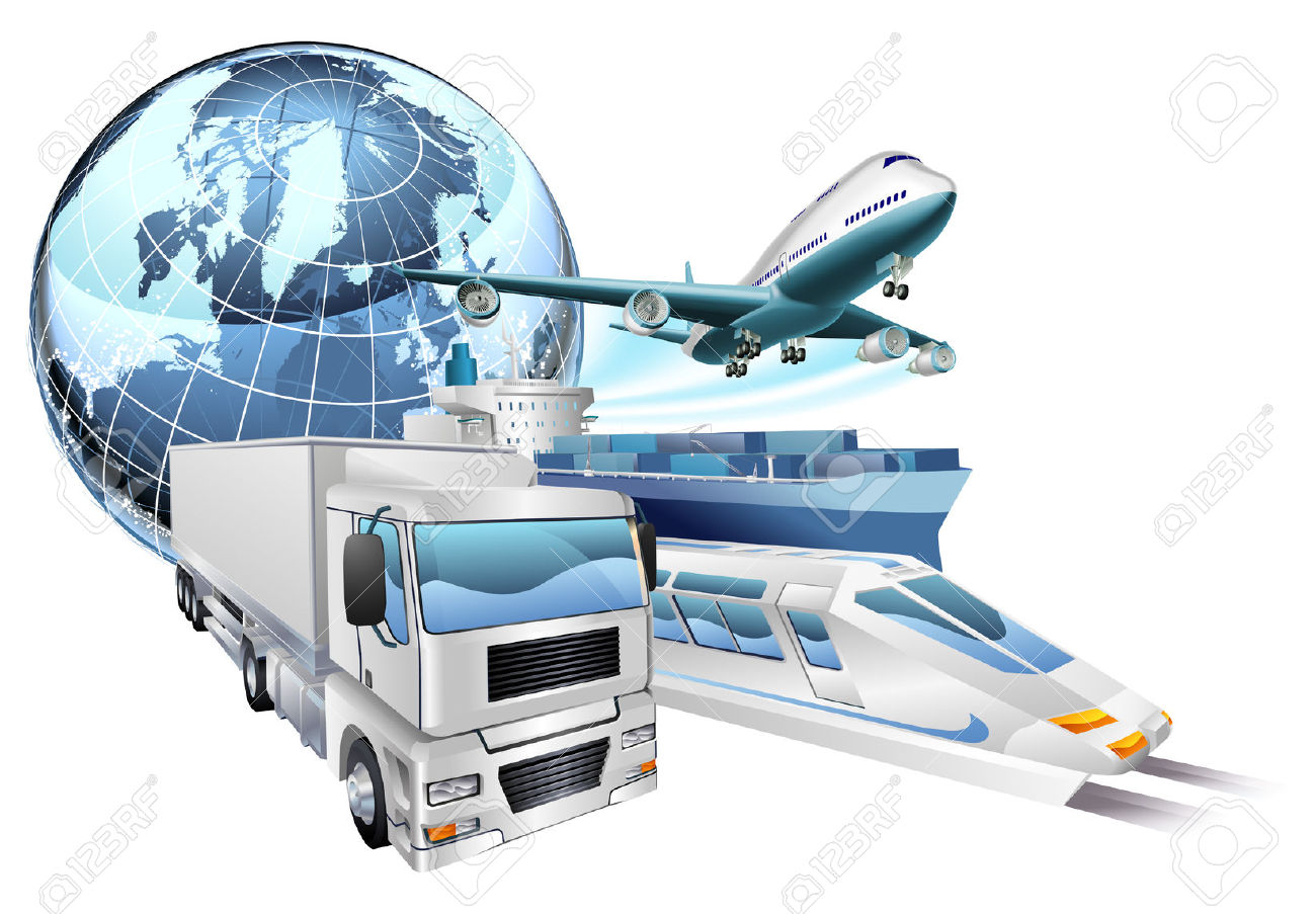 Dynamic Logistics City Business Concept With Delivery Transport.