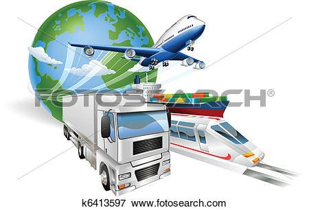 Clip Art of Global logistics concept airplane truck train ship.