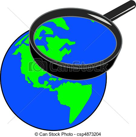 Drawing of magnifying glass enlarging globe.