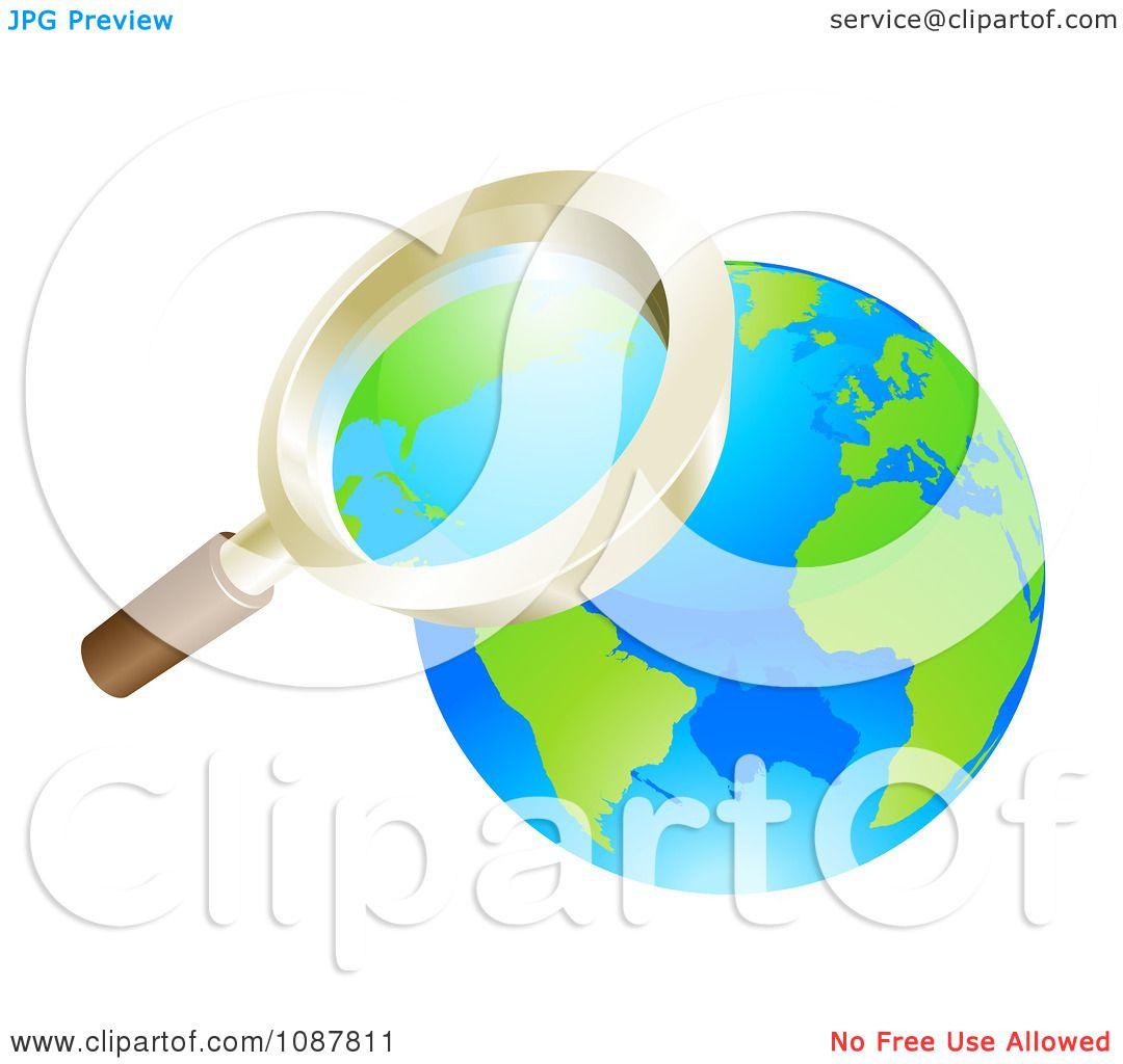 Clipart 3d Zoom Magnifying Glass Over Earth.
