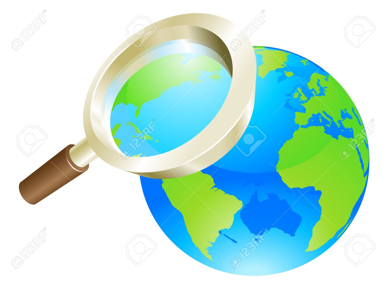 Magnifying Glass Zooming On World Earth Globe Concept Illustration.