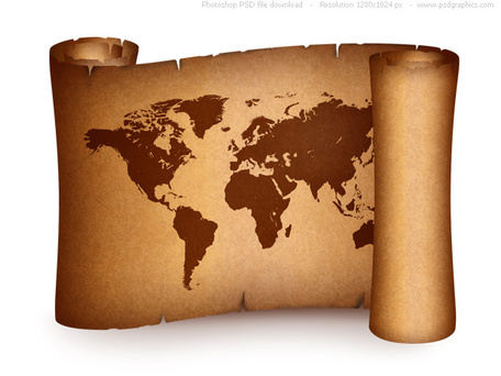 Old world map on vintage paper scroll, free vectors.